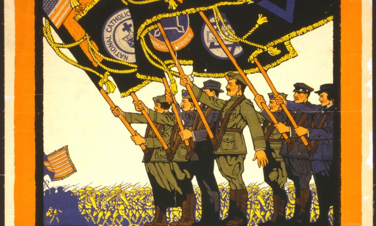 WWI Poster of soldiers with flags