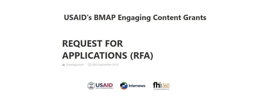 "REQUEST FOR APPLICATIONS (RFA) – USAID's ""Balkan Media Assistance Program (BMAP)"""
